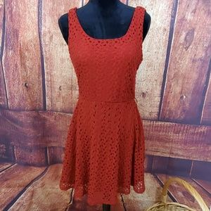 Lily Rose Crochet Sleeveless Layered Wine Dress